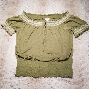 Candie's Lime Green Billowy Peasant Blouse